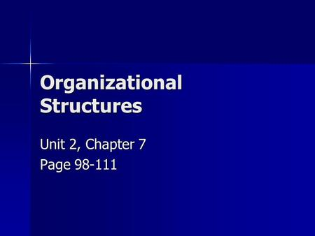 Organizational Structures Unit 2, Chapter 7 Page 98-111.