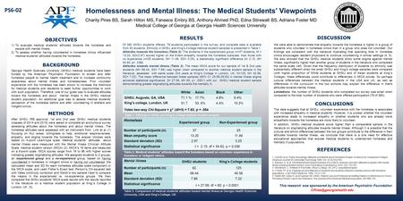 Homelessness and Mental Illness: The Medical Students' Viewpoints Charity Pires BS, Sarah Hilton MS, Faneece Embry BS, Anthony Ahmed PhD, Edna Stirewalt.