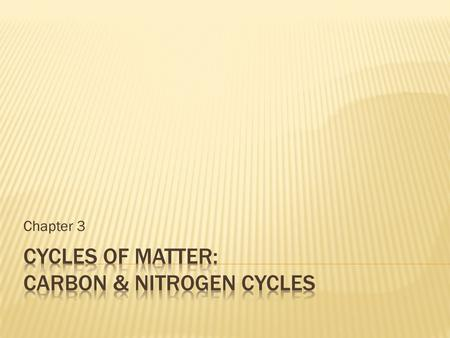 Chapter 3.  Matter recycles within and b/w ecosystems  Matter moves through in cycles  Never created or destroyed- just changes form!