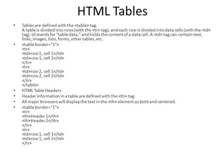 HTML Tables Tables are defined with the tag. A table is divided into rows (with the tag), and each row is divided into data cells (with the tag). td stands.