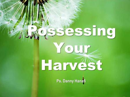 Possessing Your Harvest Ps. Danny Hanafi. Possessing Your Harvest Exodus 23:19-20 Bring the best of the firstfruits of your soil to the house of the.
