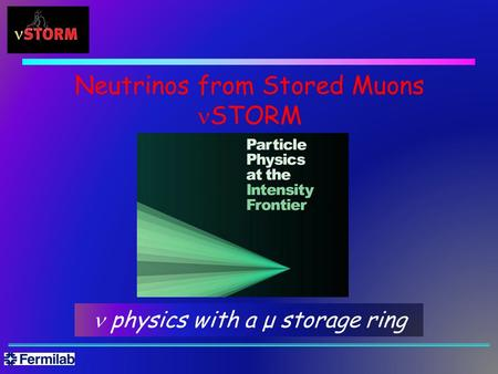Neutrinos from Stored Muons STORM physics with a μ storage ring.