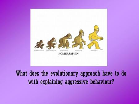 What does the evolutionary approach have to do with explaining aggressive behaviour?