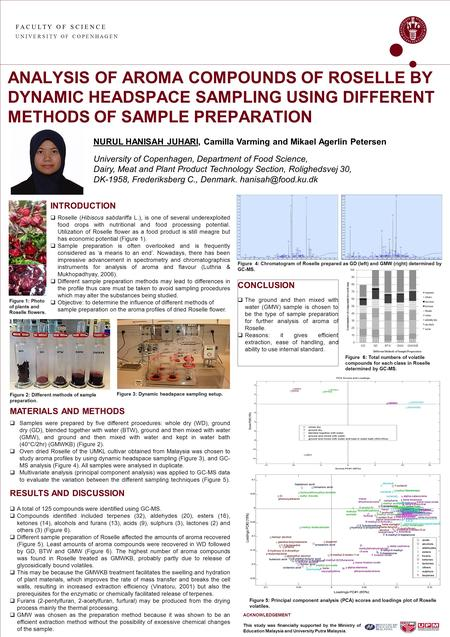 F A C U L T Y O F S C I E N C E U N I V E R S I T Y O F C O P E N H A G E N ANALYSIS OF AROMA COMPOUNDS OF ROSELLE BY DYNAMIC HEADSPACE SAMPLING USING.