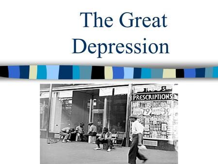 The Great Depression A depression is a time when industries do not grow and many people are out of work. Our nation has gone through several depressions.