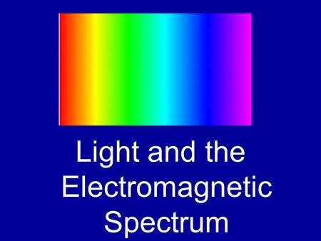 Light and the Electromagnetic Spectrum. Electromagnetic Spectrum The electromagnetic spectrum is a scale showing how light can be classified. (aka, heat.