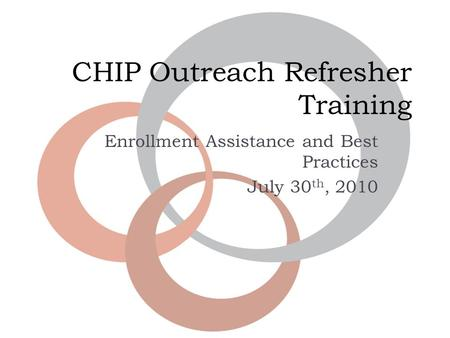 CHIP Outreach Refresher Training Enrollment Assistance and Best Practices July 30 th, 2010.