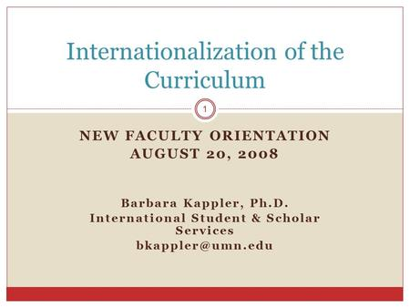 NEW FACULTY ORIENTATION AUGUST 20, 2008 Barbara Kappler, Ph.D. International Student & Scholar Services Internationalization of the Curriculum.