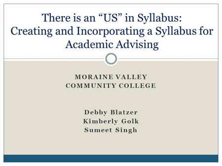 "MORAINE VALLEY COMMUNITY COLLEGE Debby Blatzer Kimberly Golk Sumeet Singh There is an ""US"" in Syllabus: Creating and Incorporating a Syllabus for Academic."