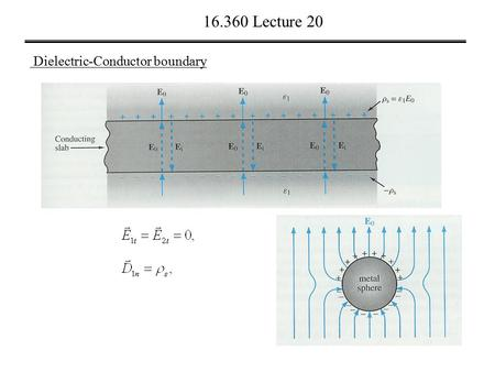 16.360 Lecture 20 Dielectric-Conductor boundary. 16.360 Lecture 20 Conductor-Conductor boundary.