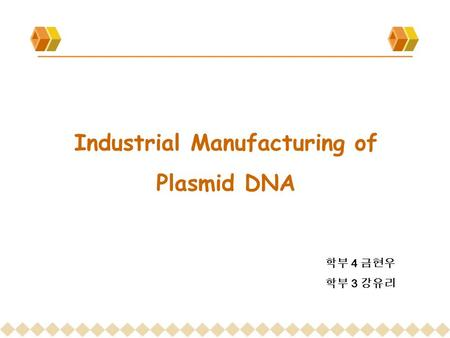 Industrial Manufacturing of Plasmid DNA 학부 4 금현우 학부 3 강유리.