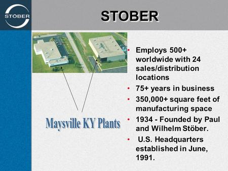 STOBERSTOBER Employs 500+ worldwide with 24 sales/distribution locationsEmploys 500+ worldwide with 24 sales/distribution locations 75+ years in business75+