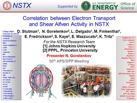 Correlation between Electron Transport and Shear Alfven Activity in NSTX College W&M Colorado Sch Mines Columbia U Comp-X General Atomics INEL Johns Hopkins.