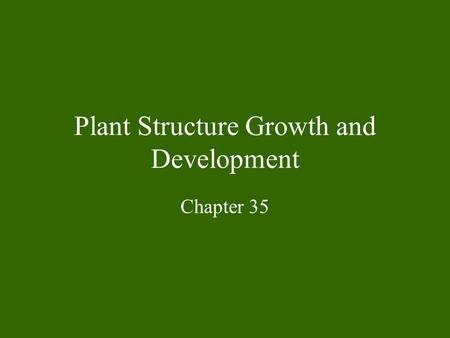 Plant Structure Growth and Development