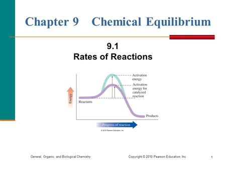 General, Organic, and Biological Chemistry Copyright © 2010 Pearson Education, Inc. 1 Chapter 9 Chemical Equilibrium 9.1 Rates of Reactions.