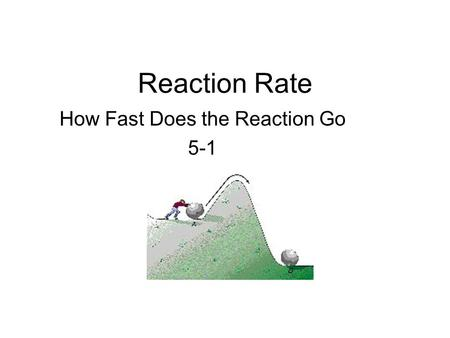 Reaction Rate How Fast Does the Reaction Go 5-1. Collision Theory Chemists believe that all chemical change (rearrangement of matter) occurs due to the.