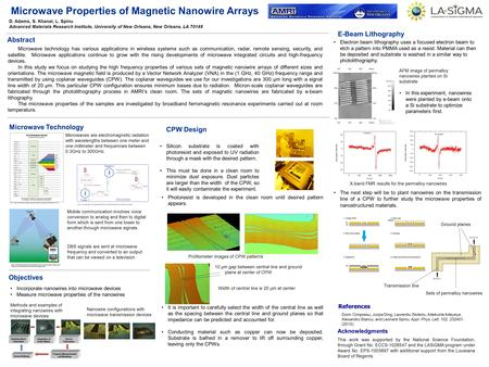 Microwave Properties of Magnetic Nanowire Arrays Acknowledgments This work was supported by the National Science Foundation, through Grant No. ECCS-1028547.