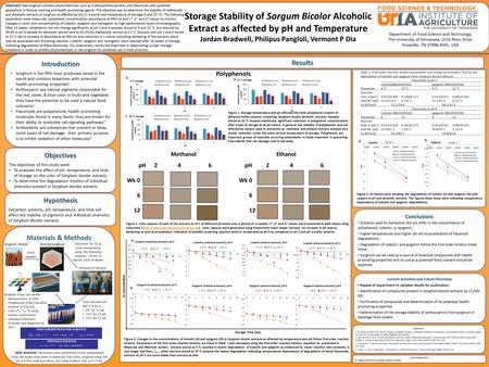 Storage Stability of Sorgum Bicolor Alcoholic Extract as affected by pH and Temperature Jordan Bradwell, Philipus Pangloli, Vermont P Dia Introduction.