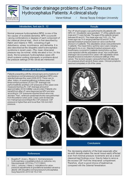 The under drainage problems of Low-Pressure Hydrocephalus Patients: A clinical study Vaner Köksal /Recep Tayyip Erdoğan University Introduction; font size.