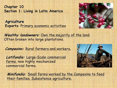 Chapter 10 Section 1: Living in Latin America Agriculture Exports: Primary economic activities Wealthy landowners: Own the majority of the land. Often.