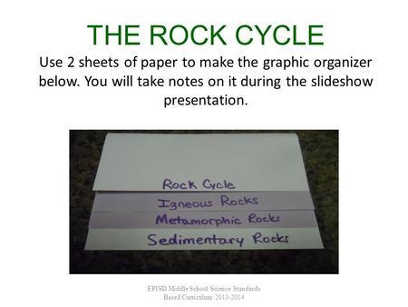 THE ROCK CYCLE Use 2 sheets of paper to make the graphic organizer below. You will take notes on it during the slideshow presentation. EPISD Middle School.