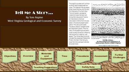 "Tell Me A Story… By Tom Repine West Virginia Geological and Economic Survey 1.One way to begin this activity is with the following narration: ""This is."