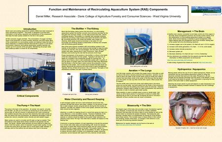 Function and Maintenance of Recirculating Aquaculture System (RAS) Components Daniel Miller, Research Associate - Davis College of Agriculture Forestry.