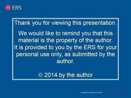 Thank you for viewing this presentation. We would like to remind you that this material is the property of the author. It is provided to you by the ERS.