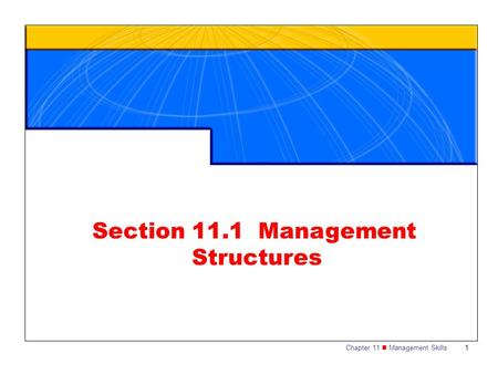 Chapter 11 Management Skills1 Section 11.1 Management Structures.