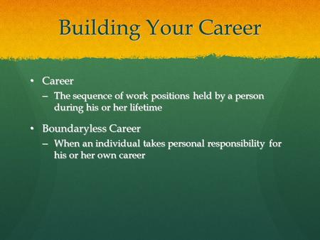 Building Your Career Career Career – The sequence of work positions held by a person during his or her lifetime Boundaryless Career Boundaryless Career.