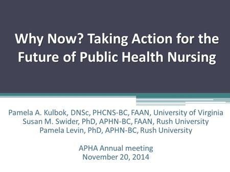 Why Now? Taking Action for the Future of Public Health Nursing Pamela A. Kulbok, DNSc, PHCNS-BC, FAAN, University of Virginia Susan M. Swider, PhD, APHN-BC,
