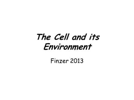 The Cell and its Environment Finzer 2013. The Plasma Membrane The Plasma Membrane - Gateway to the Cell.