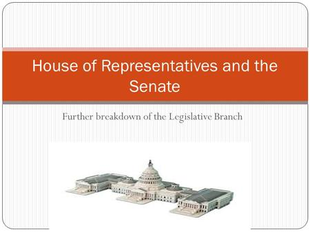 Further breakdown of the Legislative Branch House of Representatives and the Senate.