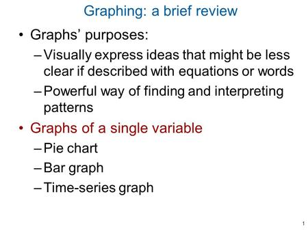 Graphing: a brief review Graphs' purposes: –Visually express ideas that might be less clear if described with equations or words –Powerful way of finding.