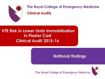 The Royal College of Emergency Medicine VTE Risk in Lower Limb Immobilisation in Plaster Cast Clinical Audit 2015-16 National findings The Royal College.
