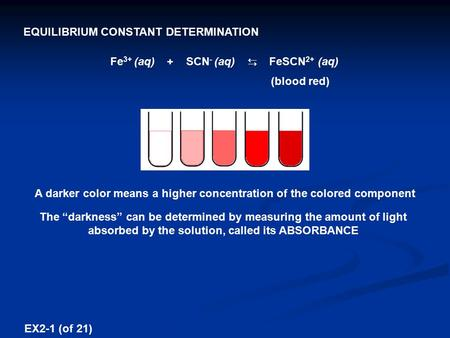 Fe 3+ (aq) + SCN - (aq) ⇆ FeSCN 2+ (aq) (blood red) EQUILIBRIUM CONSTANT DETERMINATION A darker color means a higher concentration of the colored component.