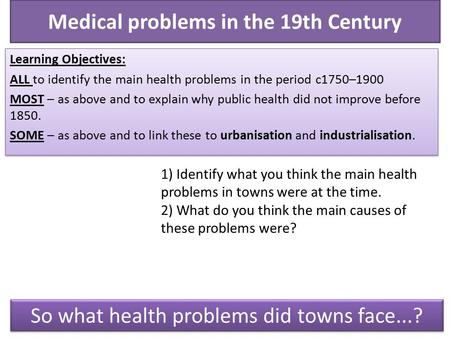 Medical problems in the 19th Century Learning Objectives: ALL to identify the main health problems in the period c1750–1900 MOST – as above and to explain.