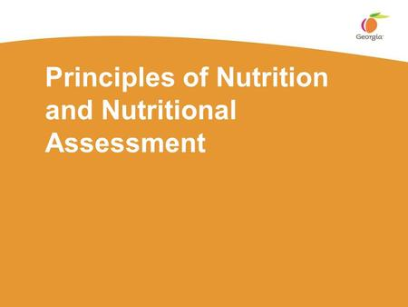 Principles of Nutrition and Nutritional Assessment.