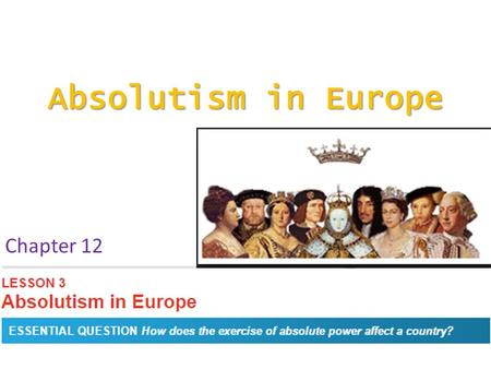 Absolutism in Europe Chapter 12. Academic Vocabulary absolutism czar Boyar Louis XIV.