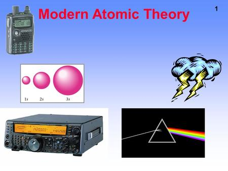 1 Modern Atomic Theory. 2 ELECTROMAGNETIC RADIATION Visible Light Is A Form Of Energy X-rays UV rays radio waves microwaves.