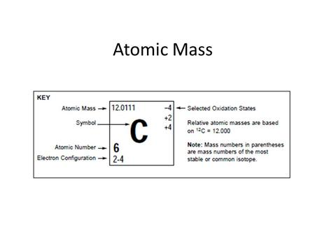 Atomic Mass. How many isotopes? There are 81 elements with at least one stable isotopes All elements above atomic number 83 (Bi) are unstable; their isotopes.