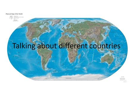 Talking about different countries. Match the countries and their capitals Example: Moscow is the capital of Russia The UK Moscow Australia Washington.