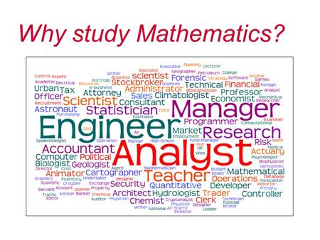 Why study Mathematics?. Post-16 Mathematics options Core Maths Elective A level Mathematics A level Further Mathematics.