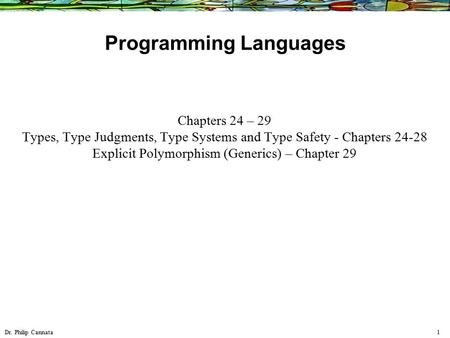 Dr. Philip Cannata 1 Programming Languages Chapters 24 – 29 Types, Type Judgments, Type Systems and Type Safety - Chapters 24-28 Explicit Polymorphism.
