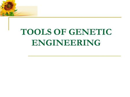 TOOLS OF GENETIC ENGINEERING. There are a number of tools used in genetic engineering. One of them are enzymes.
