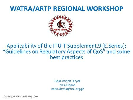 WATRA/ARTP REGIONAL WORKSHOP