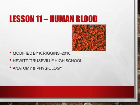 LESSON 11 – HUMAN BLOOD MODIFIED BY K.RIGGINS -2016 HEWITT-'TRUSSVILLE HIGH SCHOOL ANATOMY & PHYSIOLOGY.