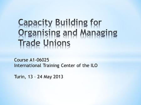Course A1-06025 International Training Center of the ILO Turin, 13 – 24 May 2013.