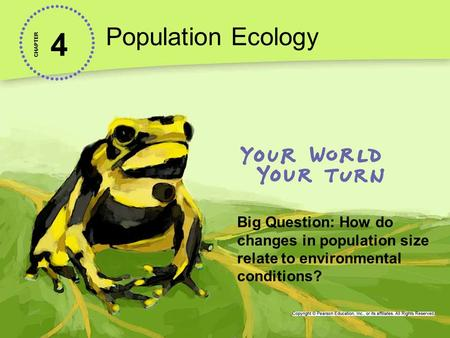 4 Population Ecology CHAPTER Big Question: How do changes in population size relate to environmental conditions?