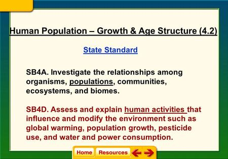 State Standard SB4A. Investigate the relationships among organisms, populations, communities, ecosystems, and biomes. SB4D. Assess and explain human activities.